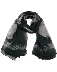 Alexander McQueen Grey And Green Silk Woven Skull Print Scarf - Lyst