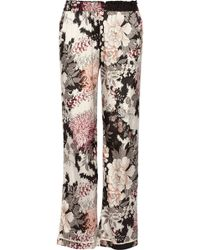 Day Birger Et Mikkelsen Night Flower Printed Satin Wide-leg Pants - Lyst