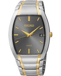 Seiko Men'S Solar Two-Tone Stainless Steel Bracelet Watch 35Mm Sne334 - Lyst