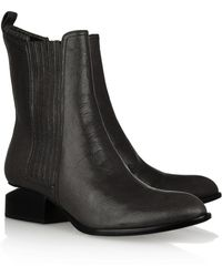 Alexander Wang Anouck Cutoutheel Leather Ankle Boots - Lyst