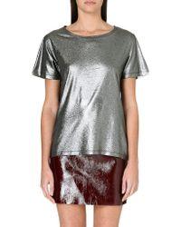 Maje Metallic Tshirt Gris - Lyst