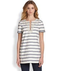 Tory Burch Kirsten Embellished Striped Tunic - Lyst