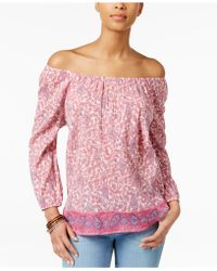 American Living - Printed Peasant Blouse, Only At Macy's - Lyst