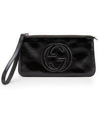 Gucci Soho Soft Patent Leather Wristlet - Lyst
