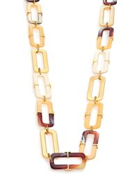 Tory Burch Horn-Print Link Necklace gold - Lyst