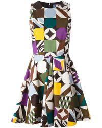 MSGM Geometric-Print Flared Dress - Lyst