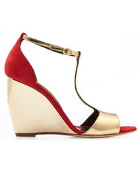 Rupert Sanderson June Suede And Metallic Leather Wedges - Lyst