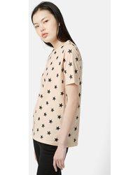 Topshop Glitter Star T-Shirt beige - Lyst