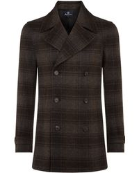 Aquascutum Raleigh Checked Pea Coat - Lyst