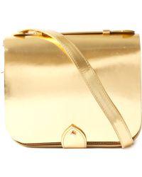 YMC - Gold Mini Leather Satchel Bag - Lyst