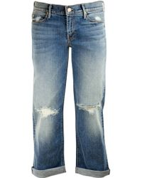 Mother Pretender Crop And Roll Jean - Lyst