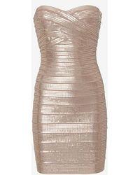 Hervé Léger Sequin Bandage Strapless Dress Nude - Lyst