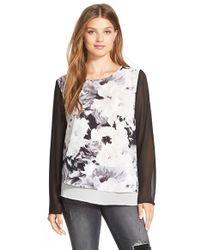 DKNY | Floral Print Tiered Asymmetrical Blouse | Lyst