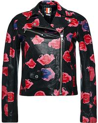 MSGM Printed Leather Motorcycle Jacket - Lyst