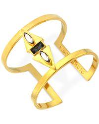 Vince Camuto - Gold Multi-Stone T-Bar Cuff Bracelet - Lyst