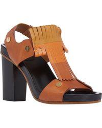 Chloé Fringe T-Strap Slingback Sandals - Lyst
