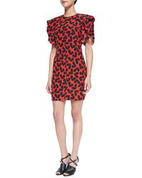 Saint Laurent Shortsleeve Fluttering Silk Heartprint Dress - Lyst