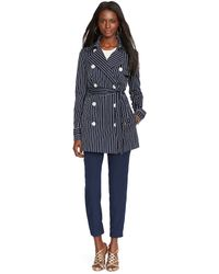 Ralph Lauren Striped Double-Breasted Trench - Lyst
