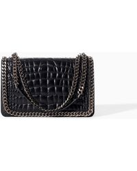 Zara Croc And Chain City Bag - Lyst