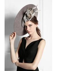 Philip Treacy - Buntal Scroll And Rose-Embellished Wool-Felt Hat - Lyst