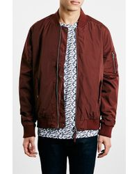 Topman Rust Ma1 Bomber Jacket red - Lyst