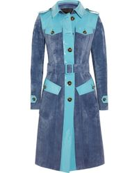 Burberry Prorsum Patent Leather-Paneled Suede Trench Coat - Lyst
