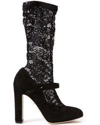 Dolce & Gabbana Lace Sock Mary Jane Pumps black - Lyst