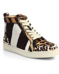 Christian Louboutin Rantus Orlato Mixed Animal-Print Calf Hair Sneakers multicolor - Lyst