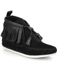 Rag & Bone Ghita Leather & Suede Moccasin Ankle Boots black - Lyst