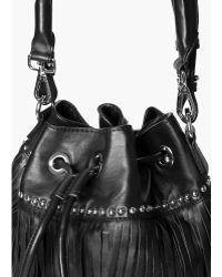 Mango - Fringed Leather Bucket Bag - Lyst