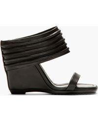 Rick Owens Black Ribbed Leather Ruhlmann Wedge Sandals - Lyst