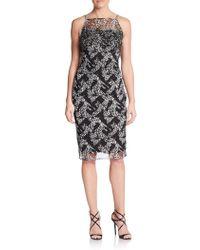 Badgley Mischka Embellished Abstract-Print Dress - Lyst