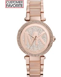 Michael Kors Women'S Parker Blush Acetate And Rose Gold-Tone Stainless Steel Bracelet Watch 39Mm Mk6176 - A Macy'S Exclusive - Lyst