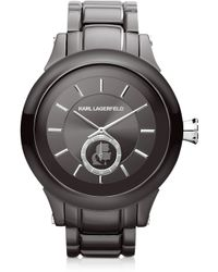 Karl Lagerfeld 446 Mm Gunmetal Ion-plated Stainless Steel Unisex Watch - Lyst