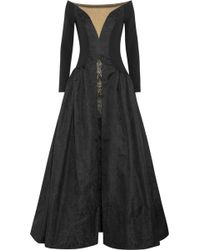 Alessandra Rich Crepe Taffeta and Lace Gown - Lyst