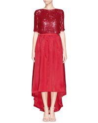 St. John Sequin Paillette Silk Organdy Cascade Dress red - Lyst