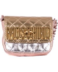 Moschino Silver Leather Shoulder Mini Bag - Lyst