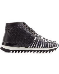 Balmain High-Top Sneakers With Leather - Lyst