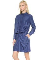 MiH Jeans The Knot Front Dress Indigo Sharp - Lyst