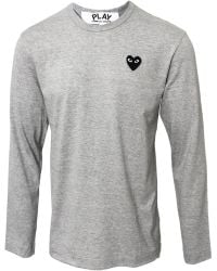 Comme Des Garçons Play Mens Black Heart Long Sleeve Tshirt Grey - Lyst