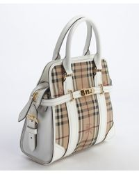 Burberry White and Beige Nova Check Canvas Leather Accent Convertible Top Handle Tote - Lyst