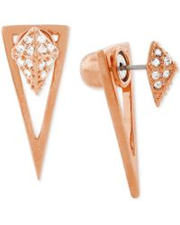 Vince Camuto - Rose Gold-tone Pyramid And Triangle Front And Back Earrings - Lyst