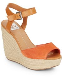 DV by Dolce Vita | Nadiyah Suede, Leather & Jute Platform Wedge Sandals | Lyst