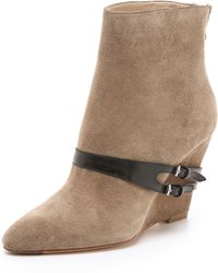 Elizabeth and James - Reily Suede Wedge Booties - Stone - Lyst