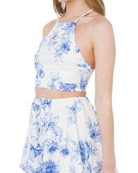 Akira Black Label - Sweetest Love Blue White Floral Print Halter Crop Top - Lyst