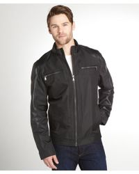 Calvin Klein Black Faux Leather Detail Motorcycle Jacket - Lyst