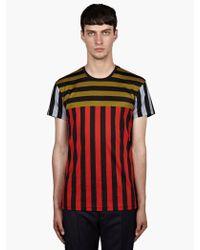 Jonathan Saunders Mens Multi Stripe Panel Cotton Tshirt - Lyst