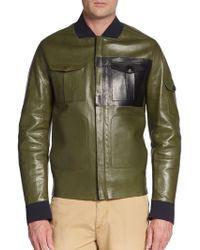 Valentino Bonded Leather Bomber Jacket - Lyst