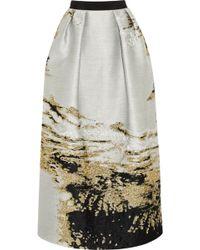 Alberta Ferretti Metallic Cloqué Maxi Skirt - Lyst