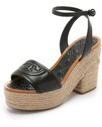 Tory Burch - Marion Quilted Espadrille Sandals - Lyst
